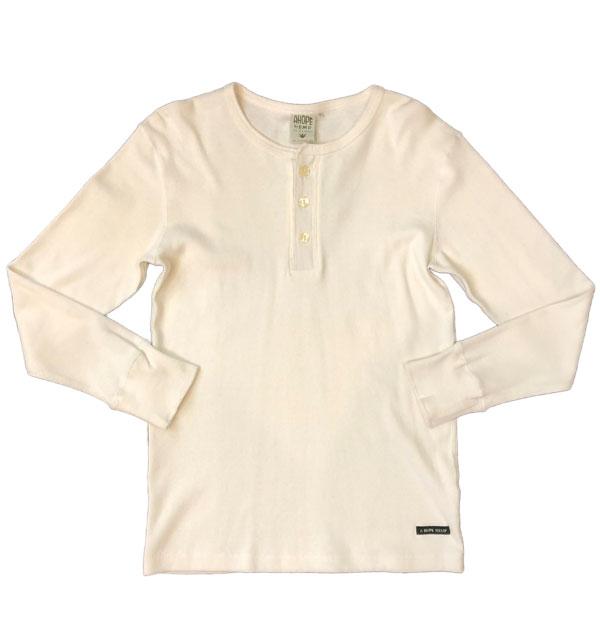 アホープヘンプ 【A HOPE HEMP】 Henryneck L/S Tee ヘンリーネックロングスリーブTシャツ WHITE