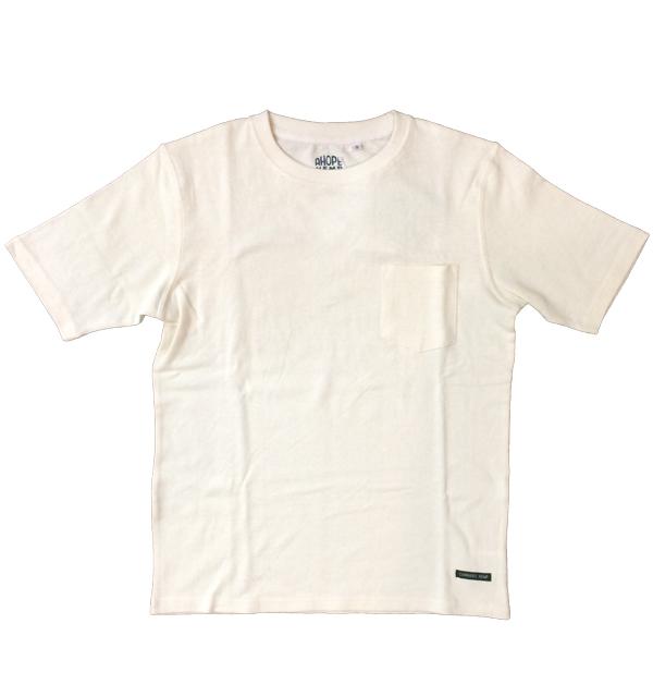アホープヘンプ 【A HOPE HEMP】 ベーシックポケットTシャツ Regular S/S Pocket Tee WHITE