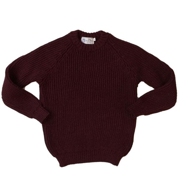ケリーウーレンミルズ 【KERRY WOOLEN MILLS】 Fisherman Rib Crew Neck Sweater フィッシャーマンリブクルーネックセーター BURGUNDY