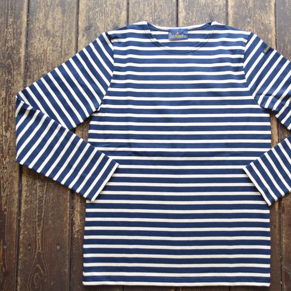 ルミノア Le minor ボーダーバスクシャツ 810 MARINE/ECRU