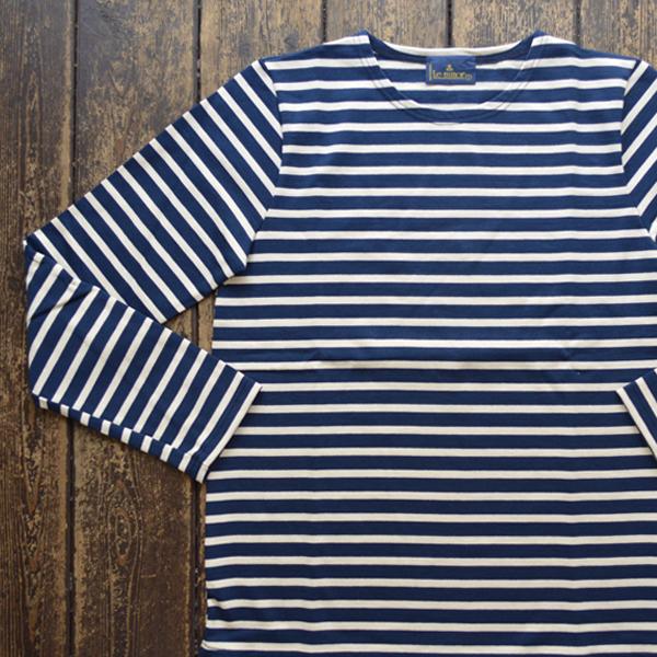 ルミノア Le minor ボーダーバスクシャツ MARINE/ECRU