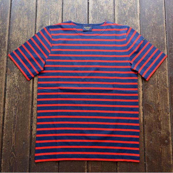 ルミノア Le minor 半袖ボーダー Tシャツ MARINE/ROUGE