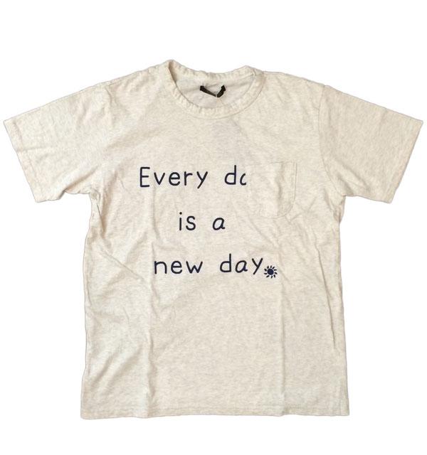 モデムデザイン 【MODEM DESIGN】 スラブTシャツ everyday is new day OATMEAL