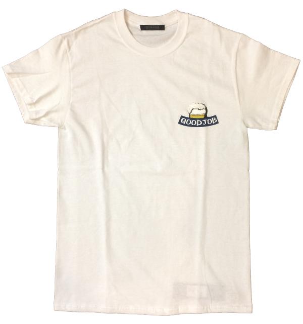 モデムデザイン 【MODEM DESIGN】 エンブロイダリー Tシャツ ビール GOOD JOB WHITE