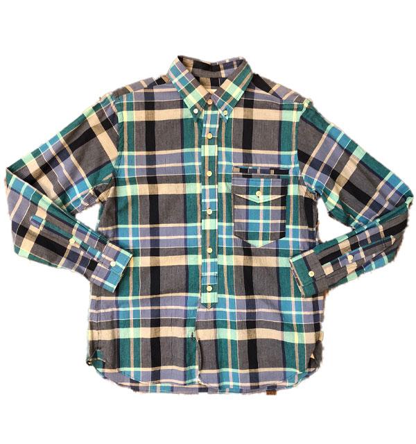 メイプル 【melple】  ボタンダウンチェックシャツ BLUE