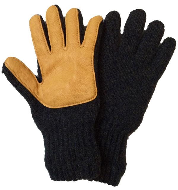 ニューベリーニッティング 【NEWBERRY KNITTING】 Newteck lined ragg wool Glove with Deerskin Palm OLIVEGREEN MENS ONE SIZE