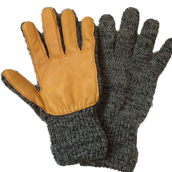 ニューベリーニッティング 【NEWBERRY KNITTING】 Newteck lined ragg wool Glove with Deerskin Palm CHARCOAL MENS ONE SIZE