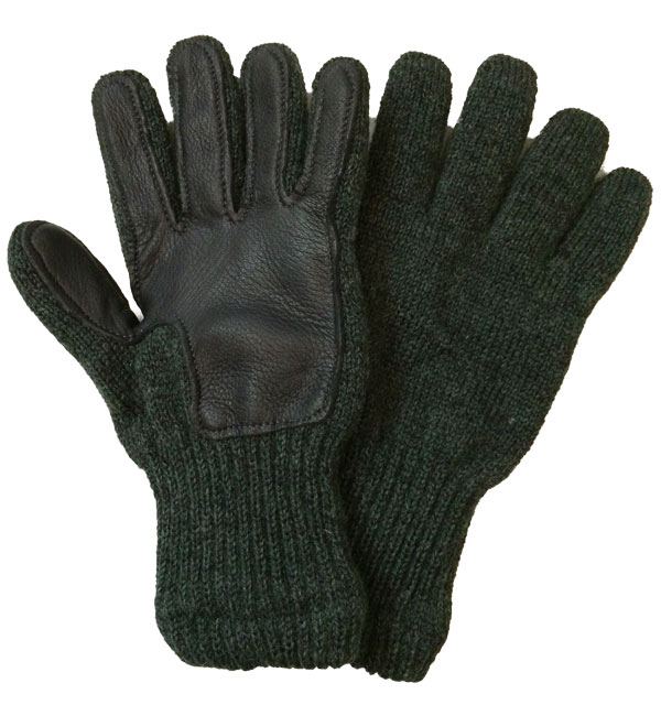ニューベリーニッティング 【NEWBERRY KNITTING】 Newteck lined ragg wool Glove with Deerskin Palm GREEN MENS ONE SIZE