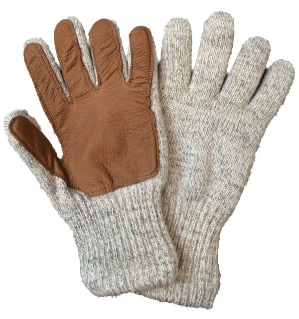 ニューベリーニッティング 【NEWBERRY KNITTING】 Newteck lined ragg wool Glove with Deerskin Palm GRAY MENS ONE SIZE