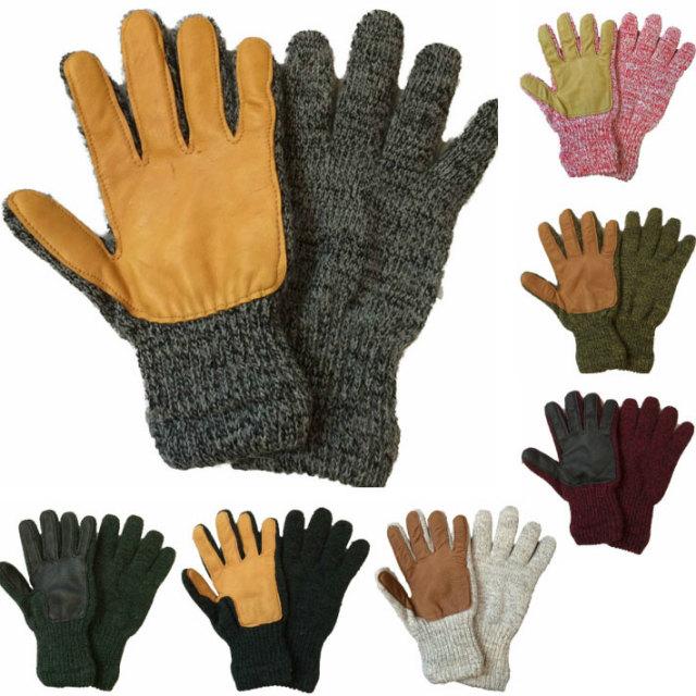 ニューベリーニッティング 【NEWBERRY KNITTING】 ディアスキン ラグウール グローブ フリースライナー Newteck lined ragg wool Glove with Deerskin Palm MENS ONE SIZE 6COLOR