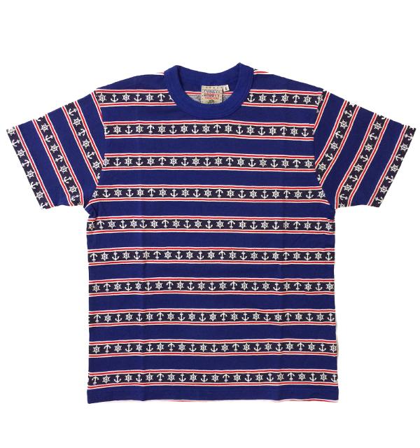 シュガーケーン 【SUGAR CANE】  半袖Tシャツ ジャガードアンカーボーダーTシャツ NAVY