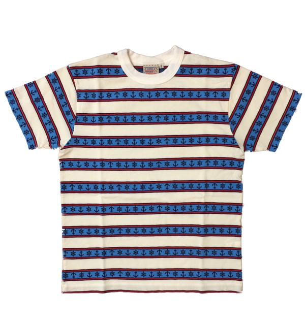 シュガーケーン 【SUGAR CANE】  半袖Tシャツ ジャガードアンカーボーダーTシャツ WHITE