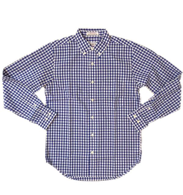 セロ 【SERO】 ギンガムチェックブロード ボタンダウンシャツ MADE IN USA BLUE