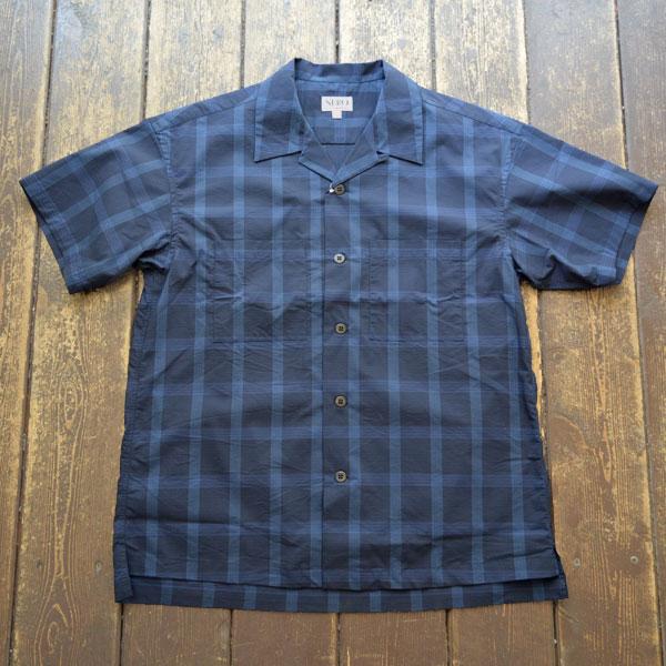 セロ SERO 半袖オープンカラーシャツ COOLMAX S/S OPEN SHIRT RIPSTOP NAVY