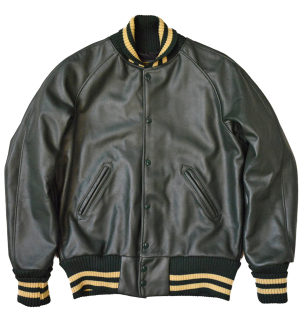 スクーカム SKOOKUM AWARDJACKET アワードジャケット ALL LEATHER D.GREEN