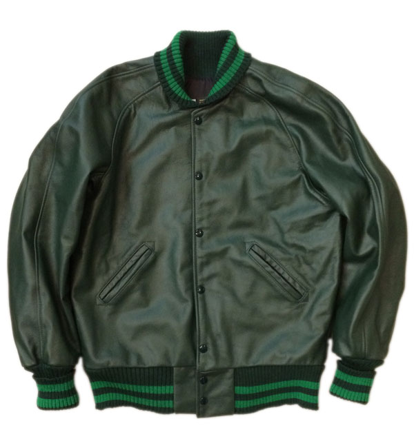 スクーカム 【SKOOKUM】 AWARDJACKET アワードジャケット ALL LEATHER D.GREEN