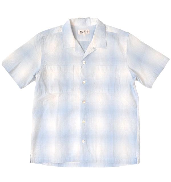ソンタク 【SONTAKU】 オンブレ半袖オープンシャツ OMBRE S/S OPEN SHIRT BLUE