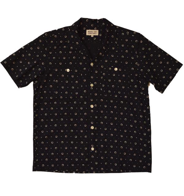 ソンタク 【SONTAKU】 手ぬぐいオープンカラーシャツ OPEN COLLOR SHIRT 月と星