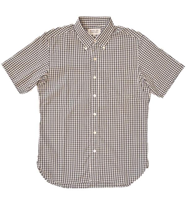 ソンタク 【SONTAKU】 100/2ブロード 半袖BDギンガムチェックシャツ GINGHAM CHECK SHIRT BLACK