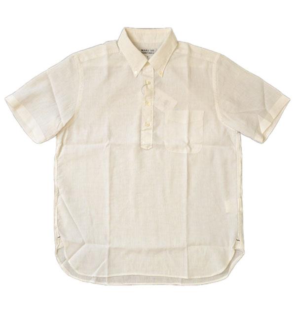 ソンタク SONTAKU リネン/クールマックス混 半袖プルオーバーシャツ 892HD26566 WHITE