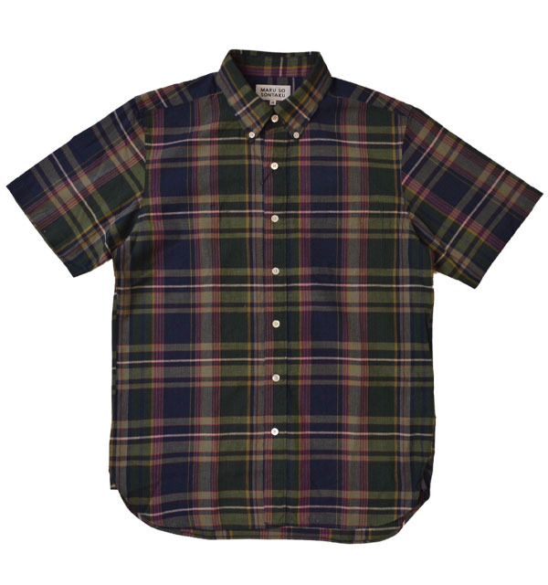 ソンタク SONTAKU 半袖マドラスチェック ボタンダウンシャツ 892HD26459 NAVY