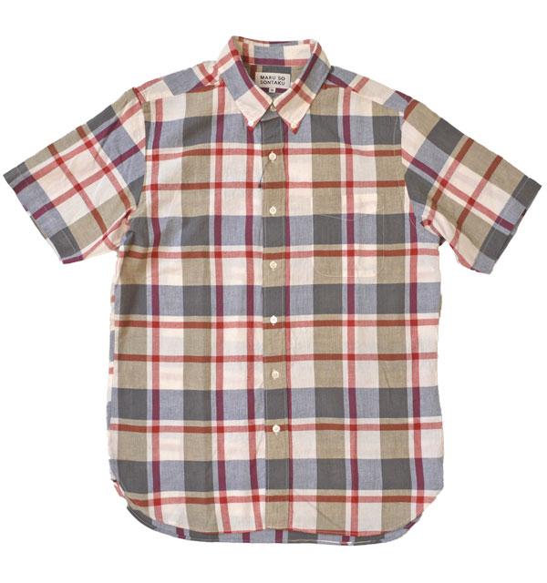 ソンタク SONTAKU 半袖マドラスチェック ボタンダウンシャツ 892HD26459 WHITE
