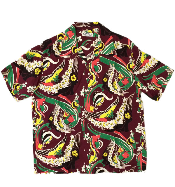 サンサーフ 【SUN SURF】 ALOHA SHIRTS KAUI MERMAID WINE