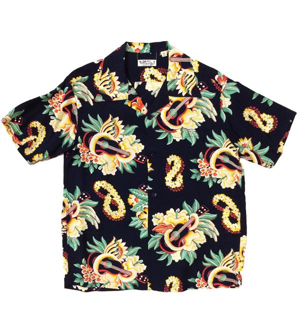 サンサーフ 【SUN SURF】 アロハシャツ ALOHA SHIRTS MACINTOSH UKULELE NAVY