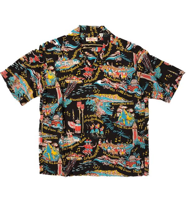 サンサーフ 【SUN SURF】 アロハシャツ ALOHA SHIRTS THE SONG OF HAWAII BLACK