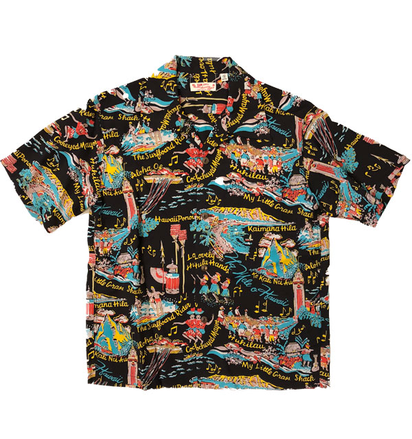 サンサーフ 【SUN SURF】 アロハシャツ ALOHA SHIRTS THE SONG OF HAWAII BLACK
