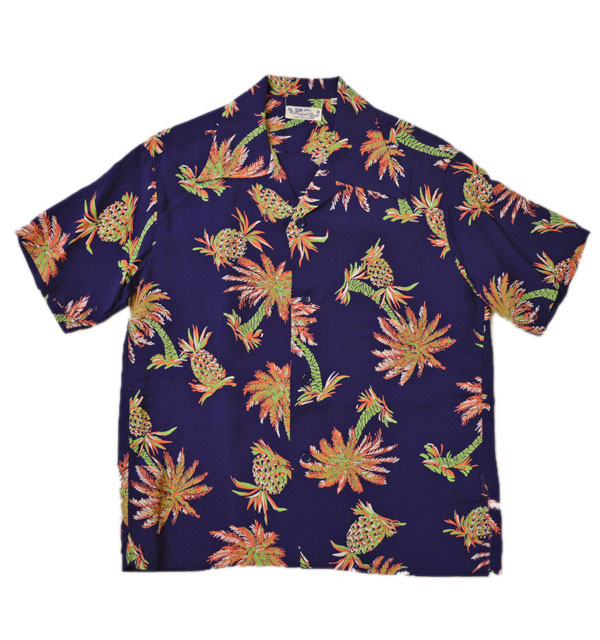"サンサーフ SUN SURF アロハシャツ ALOHA SHIRTS ""STUDDED WITH PALM TREE AND PINEAPPLE"" SS38032 NAVY"
