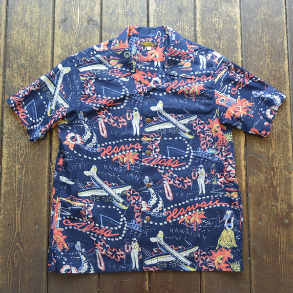 "サンサーフ SUN SURF アロハシャツ SLUBYARN S/S OPEN SHIRTS ""HAWAII CALLS"" SS38411 NAVY"
