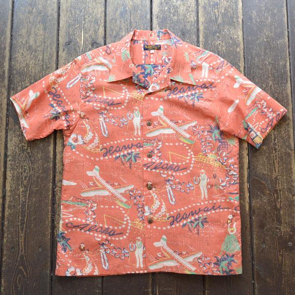 """サンサーフ SUN SURF アロハシャツ SLUBYARN S/S OPEN SHIRTS """"HAWAII CALLS"""" SS38411 PINK"""