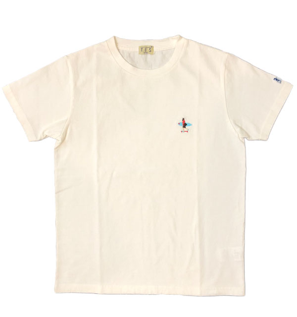 ザエンドレスサマー 【THE ENDLESS SUMMER】 刺繍入りTシャツ TES CALIFORNIA CREW EMB-TEE WHITE