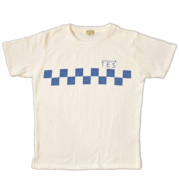 ザエンドレスサマー 【THE ENDLESS SUMMER】  両面パイルTシャツ COMFORTABLE PILE TEE TES SURF TRACK TEE WHITE/BLUE