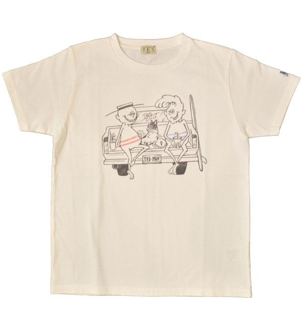 ザエンドレスサマー 【THE ENDLESS SUMMER】 プリントTシャツ TES SURF HOLIC TEE CAR WHITE