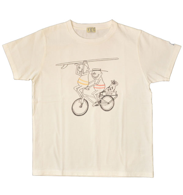 ザエンドレスサマー 【THE ENDLESS SUMMER】 プリントTシャツ TES SURF HOLIC TEE CYCLE WHITE