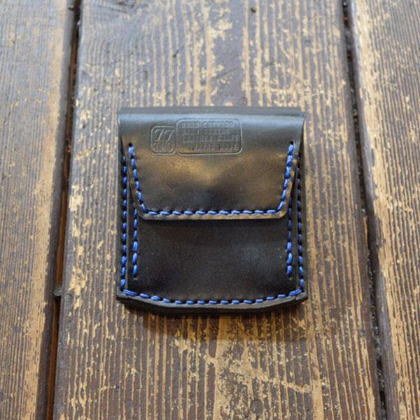 ターンミーオン TURN ME ON 3WAY (コイン・お札・カード) ハンドメイドレザーウォレット BLACK/BLUE ステッチ