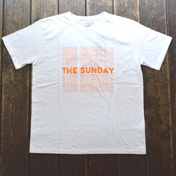 ターンミーオン TURN ME ON 半袖Tシャツ THE SUNDAY WHITE/ORENGE