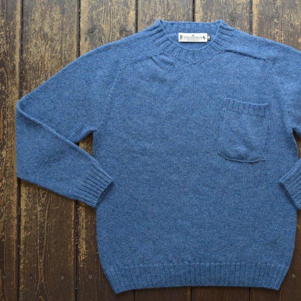 トムシンプソン TOM SIMPSON シェットランドウールポケット付きセーター Shetland Wool Pocket Sweater SAPPHIRE