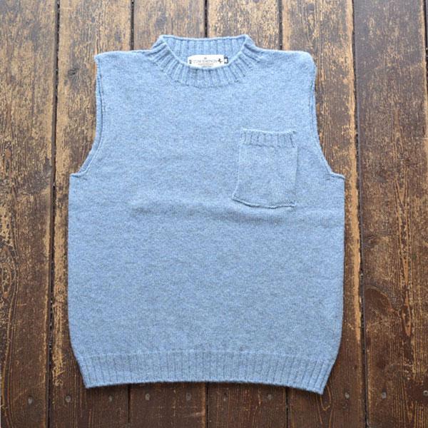 トムシンプソン TOM SIMPSON シェットランドウールポケット付きベスト Shetland Wool Pocket Vest GLACIER
