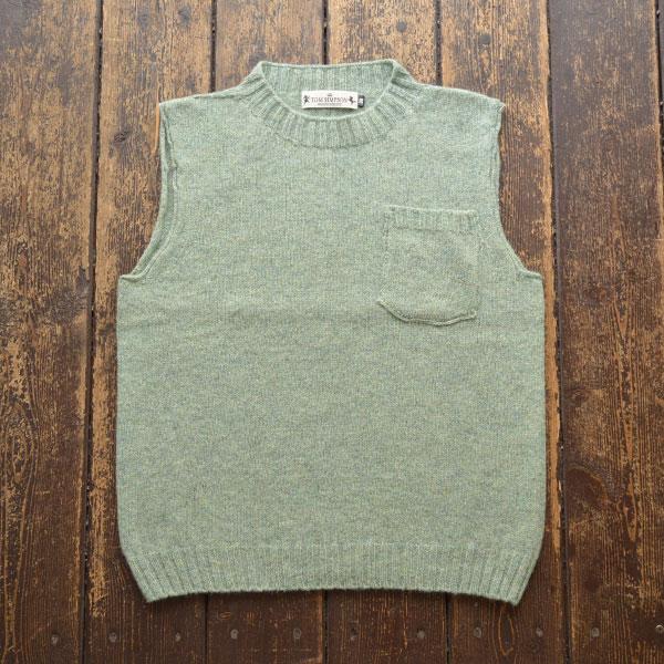 トムシンプソン TOM SIMPSON シェットランドウールポケット付きベスト Shetland Wool Pocket Vest OAKLEAF