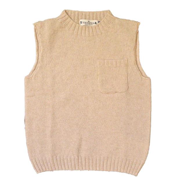 トムシンプソン TOM SIMPSON シェットランドウールポケット付きベスト Shetland Wool Pocket Vest ALMOND