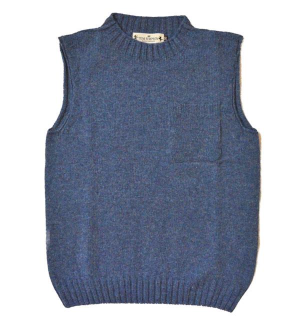 トムシンプソン TOM SIMPSON シェットランドウールポケット付きベスト Shetland Wool Pocket Vest DENIM