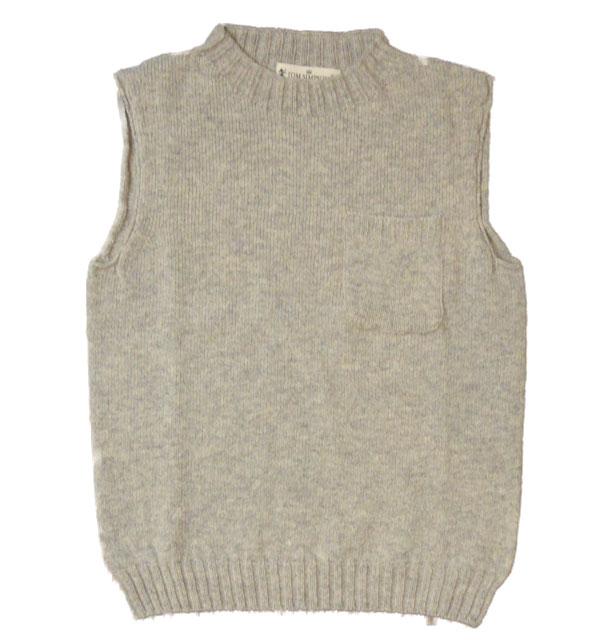 トムシンプソン TOM SIMPSON シェットランドウールポケット付きベスト Shetland Wool Pocket Vest SILVER