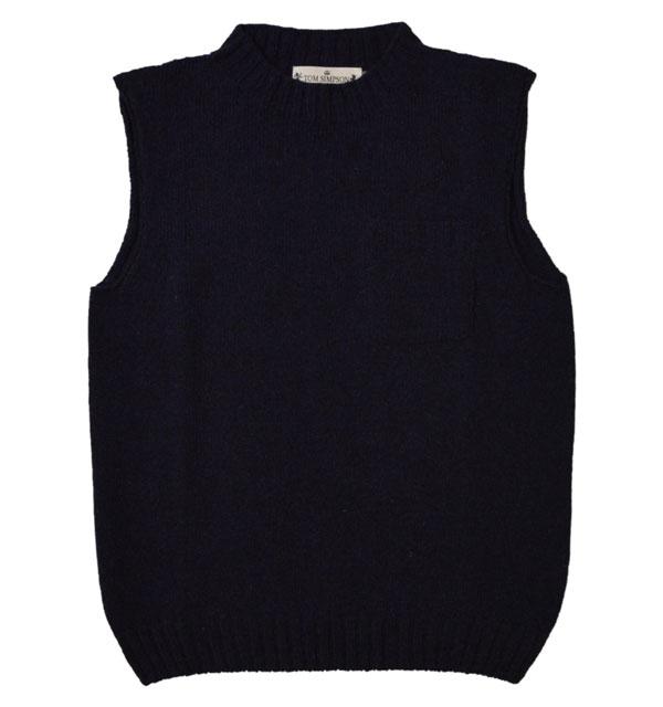 トムシンプソン TOM SIMPSON シェットランドウールポケット付きベスト Shetland Wool Pocket Vest PRUSSIAN