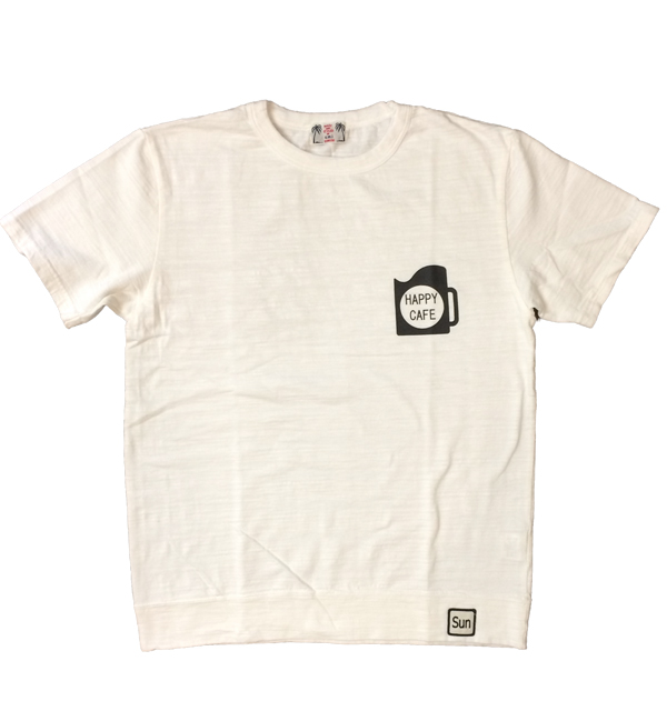 U.M.I KOHOLA 【ユーエムアイ コホラ】 スラブプリントTシャツ HAPPY CAFE WHITE