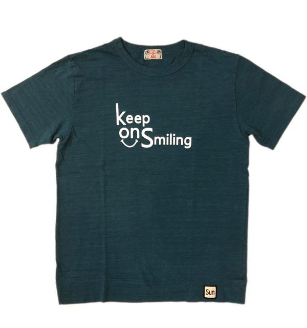 ユーエムアイ サンライズ 【U.M.I SUNRISE】 スラブプリントTシャツ Keep On Smiling MT.GREEN