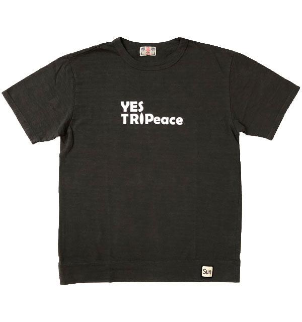 ユーエムアイ サンライズ U.M.I SUNRISE スラブプリントTシャツ YES TRIPEACE BLACK