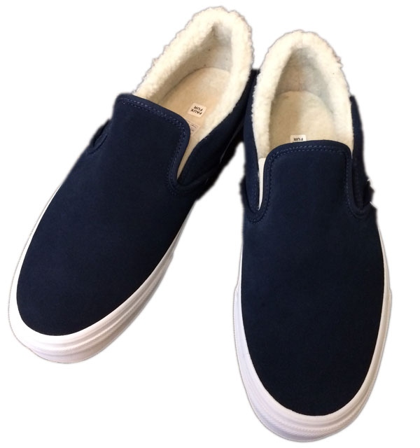 バンズ 【VANS】 Classic Slip On Suede/Fleece  NAVY